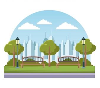Leerer Stadtpark