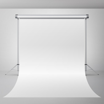 Leerer studio-innenvektor der fotografie 3d. realistische fotograf apartment illustration.