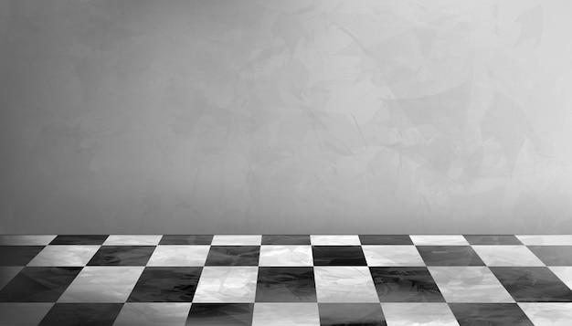 Leerer studio-raum-hintergrund in grauer zementwand-beschaffenheit mit schwarz-weiß kariertem marmorboden.