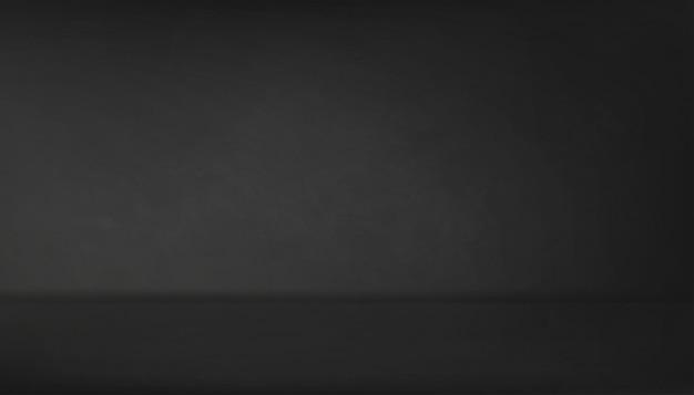 Leerer studioraum mit dunkelgrauem wandhintergrund, backdrop grey cement texture floor, vector 3d-darstellung der schwarzen betonoberfläche mit weichem licht und schatten. banner für loft-design-konzept