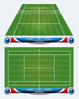 Leerer tennisplatz mit satz infographic elementen. vektor-illustration.