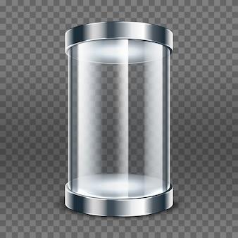Leerer transparenter glaszylinder lokalisiert auf transparentem hintergrund. runde vitrine. transparente vitrine ausstellen