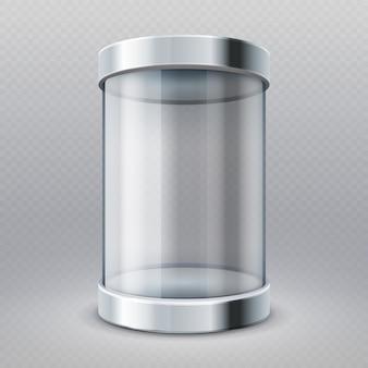 Leerer transparenter schaukasten des glaszylinders 3d lokalisierte vektorillustration. museums- und marktgaleriebox