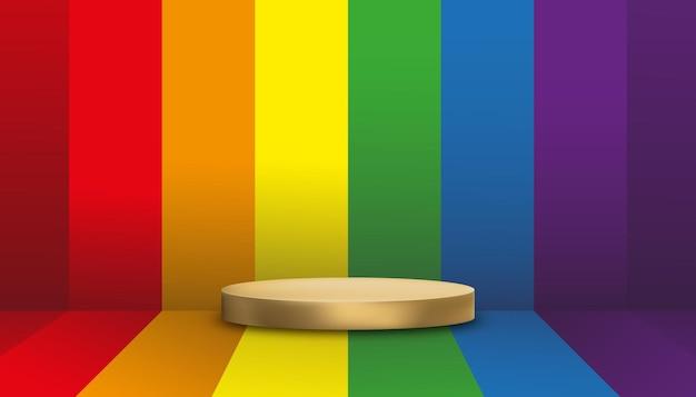 Leerer wandstudioraum mit goldenem podium regenbogenstolz lgbt-flaggenhintergrund