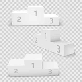 Leerer weißer rechteckiger siegerpodestsatz. der erste, zweite und dritte platz