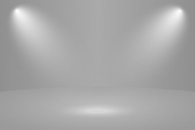 Leerer weißer runder studioraumhintergrund