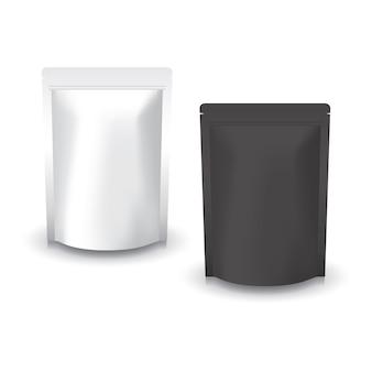 Leerer weißer und schwarzer stehender druckverschlussbeutel für lebensmittel.