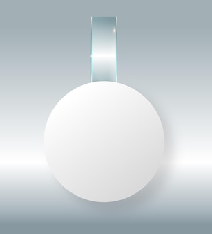 Leerer weißer wobbler hängt an der wand mock-up-d-rendering-raum rundes papiermodell auf transparentem kunststoff ...
