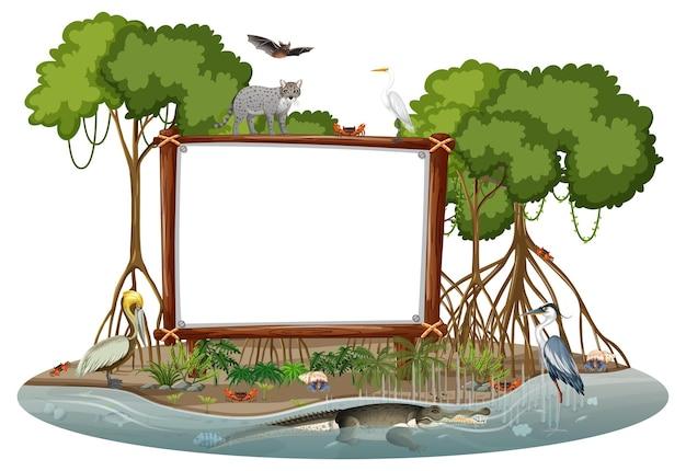 Leeres banner in der mangrovenwaldszene mit wilden tieren isoliert