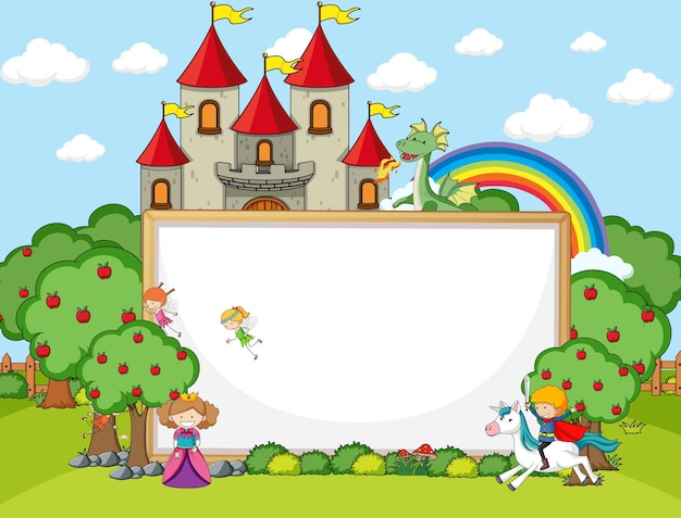 Leeres banner in der waldszene mit märchenzeichentrickfigur und -elementen