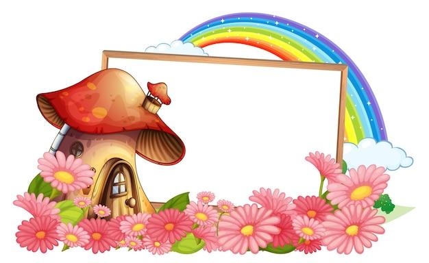 Leeres banner mit fantasy-pilzhaus und vielen blumen