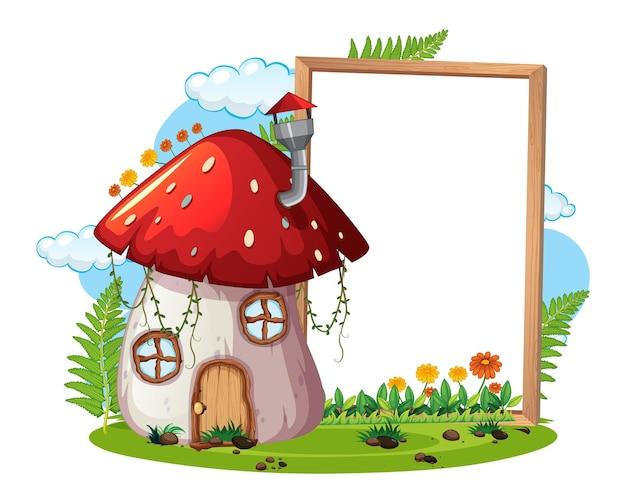 Leeres banner mit fantasy-pilzhaus