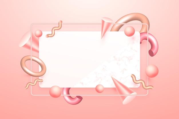 Leeres banner mit geometrischen formen im 3d-effekt