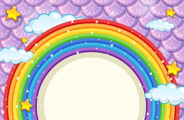 Leeres banner mit regenbogenrahmen auf lila fischschuppen
