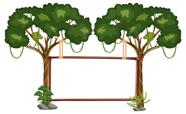 Leeres banner mit regenwaldbäumen auf weiß