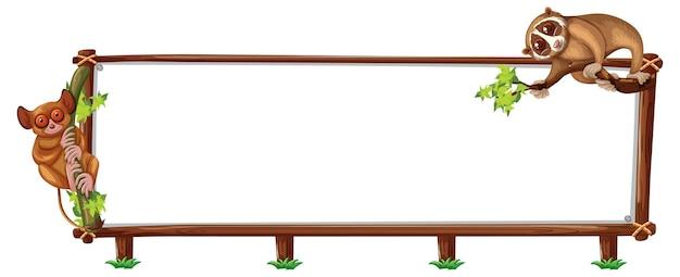 Leeres banner mit slow loris auf weißem hintergrund