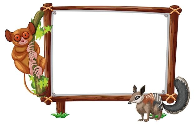 Leeres banner mit slow loris und eichhörnchen auf weißem hintergrund
