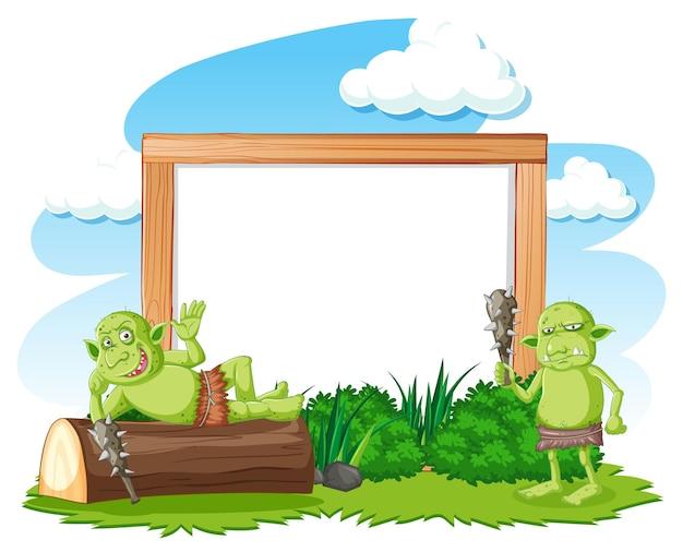 Leeres banner mit troll- oder koboldelementen