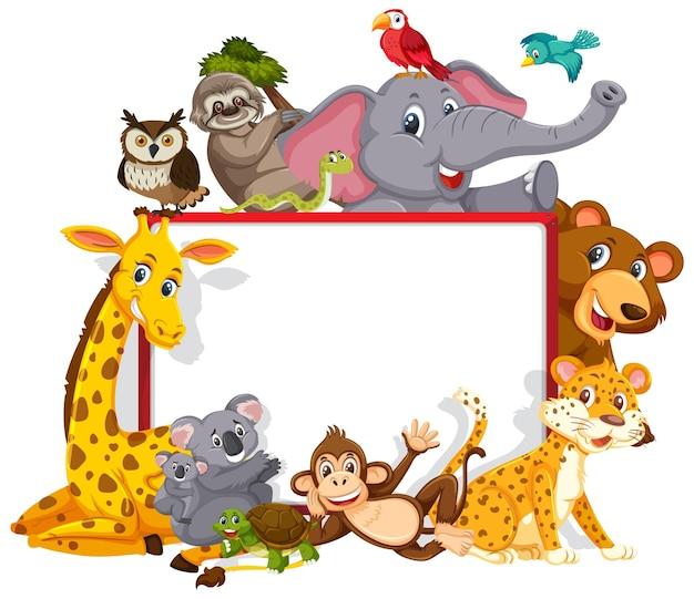 Leeres banner mit verschiedenen wilden tieren