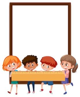 Leeres banner mit vielen kindern, die ein lineal halten