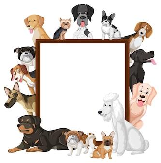 Leeres banner mit vielen verschiedenen arten von hunden