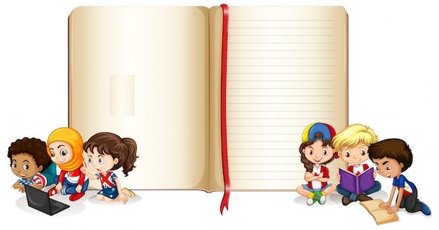 Leeres bannerdesign mit glücklichen kindern