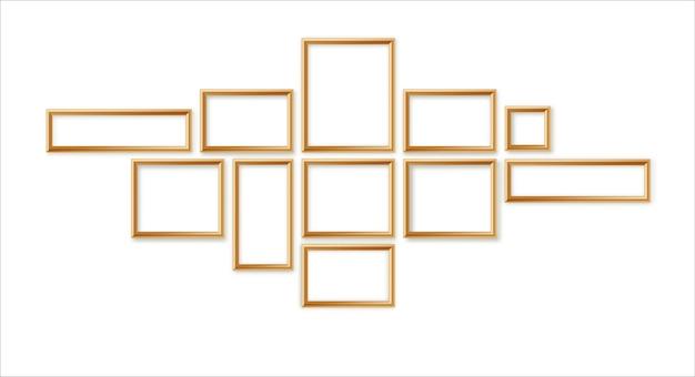 Leeres bilderrahmen-schablonen-zusammensetzungsset isoliert auf wandhintergrund 3d-illustration