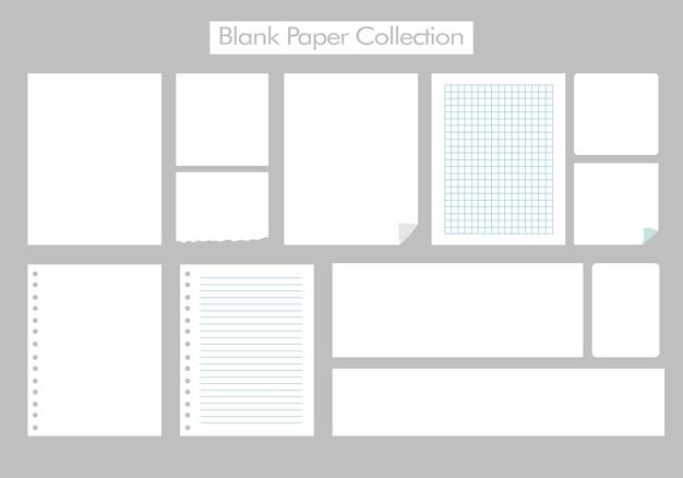 Leeres blatt blocknotizsatz des leeren papiers