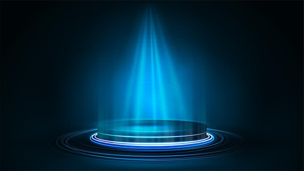 Leeres blaues podium für produktpräsentation, realistische neonillustration. blaue digitale neonpodest glänzende ringe im dunklen raum