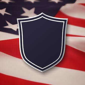 Leeres blaues schild oben auf amerikanischer flagge. einfaches, leeres banner. illustration.