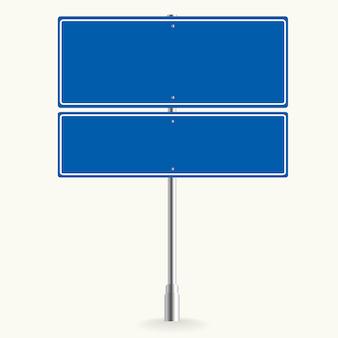 Leeres blaues straßenschild oder leere verkehrsvektorillustration