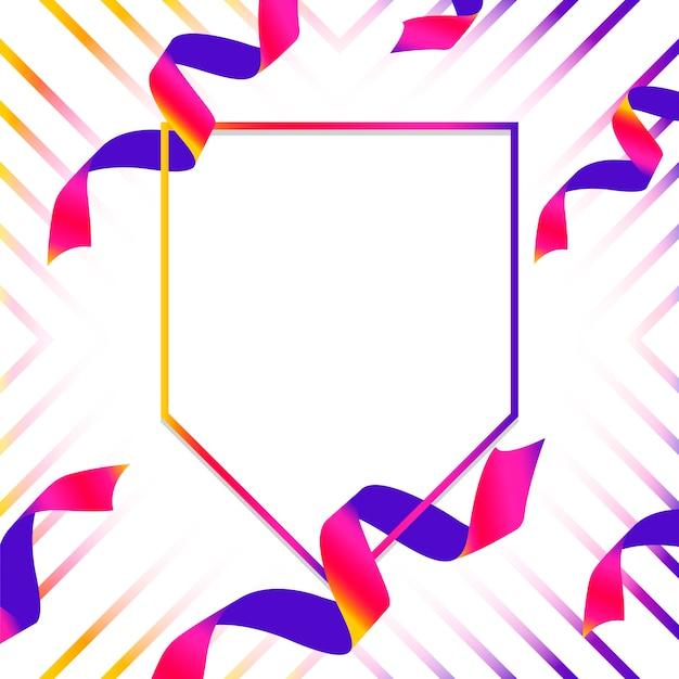 Leeres blaues und rosa emblem mit konfetti