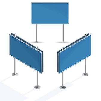 Leeres blaues verkehrsschild auf weißem hintergrund
