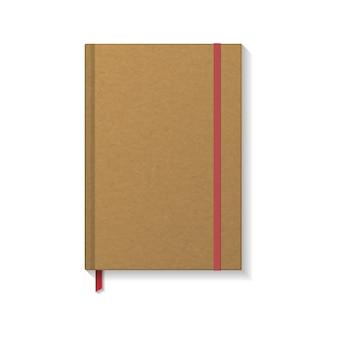 Leeres braunes kraftpapierbuch oder notizbuch mit rotem gummiband und lesezeichen