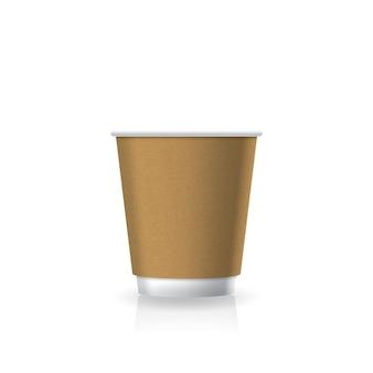 Leeres braunes kraftpapierkunststoff-kaffeetasse mit weißem boden in kleiner mockup-vorlage