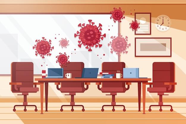 Leeres büro wegen pandemie