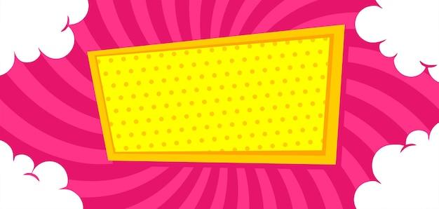 Leeres comic-board auf rosa hintergrund