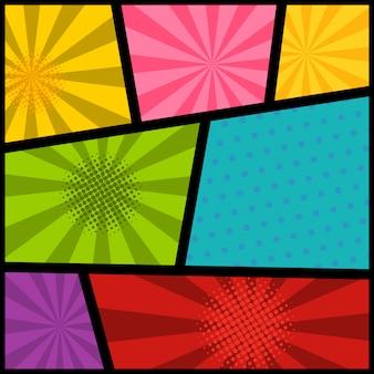 Leeres comic-seitenmodell mit farbigem hintergrund. element für plakat, karte, druck, banner, flyer. bild