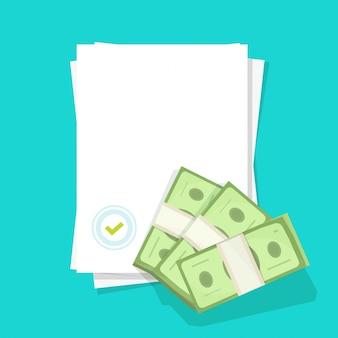 Leeres dokument mit siegelstempel als erfolgsabkommen und genehmigtem geld bargeld leerer leerer papierbogen flacher cartoon
