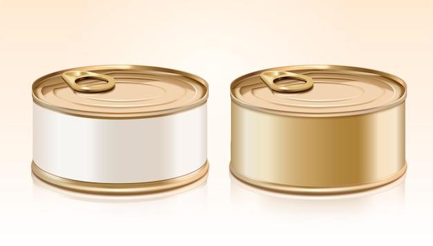 Leeres dosenmodell mit etikett für designzwecke Premium Vektoren