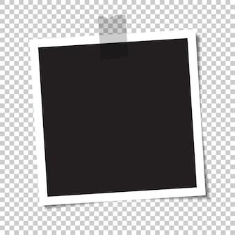 Leeres foto mit einem schatten wird mit klebeband verklebt. illustration.