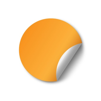 Leeres gelbes gefaltetes aufkleberdesign