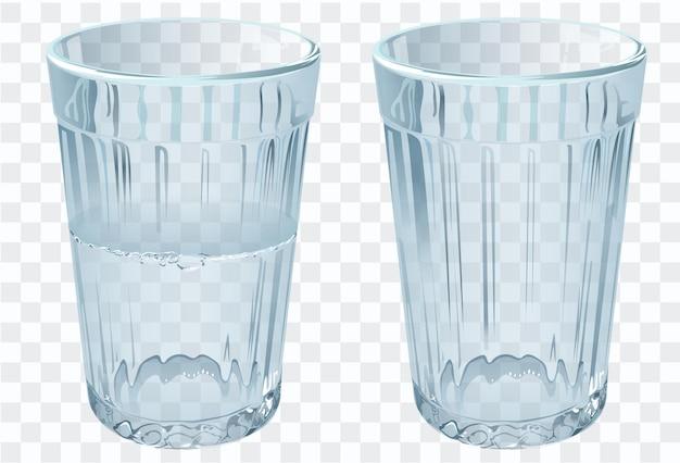 Leeres glas isoliert auf transparent