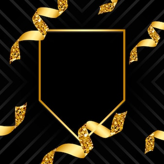 Leeres goldenes emblem mit konfetti