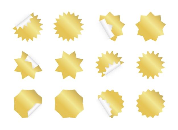 Leeres goldenes sunburst-etikett.
