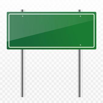 Leeres grünes verkehrsstraßenschild