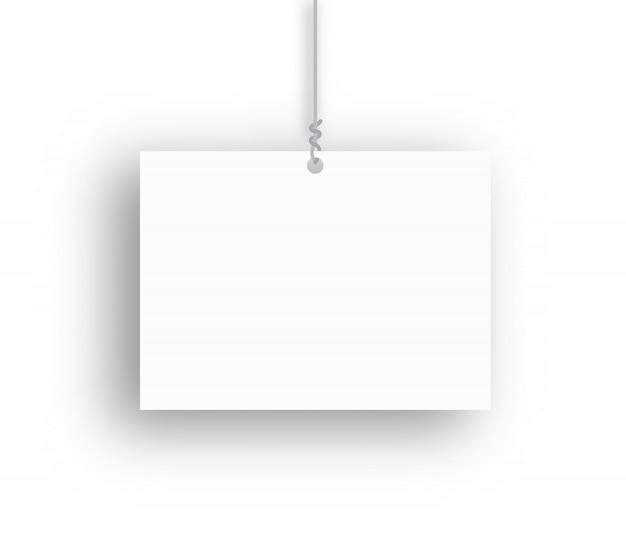 Leeres hängendes plakat. vektorillustration.