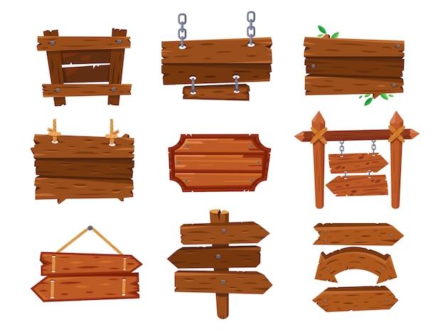 Leeres hölzernes zeichenbrett der weinlesekarikatur oder sauberes westschild. alter pfeilwegweiser, sperrholzanschlagtafel und holzschilder lokalisierten vektorsatz