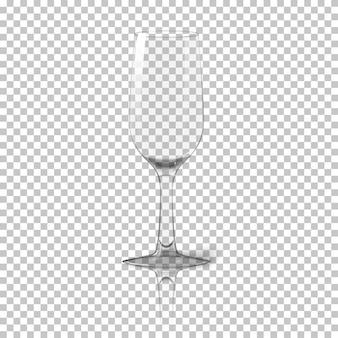 Leeres hohes transparentes fotorealistisches isoliertes weinglas mit reflexion, für branding und ihr design. auf kariertem hintergrund. vektor-illustration