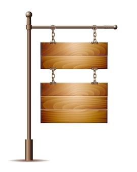Leeres holzbrettzeichen, das an einer kette auf weiß hängt. illustration